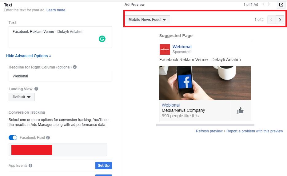 facebook reklam oluşturma