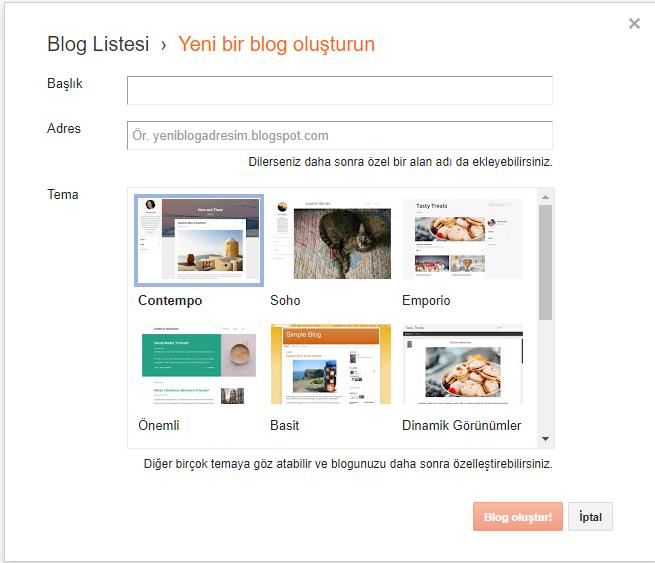 ücretsiz blogger blog kurma
