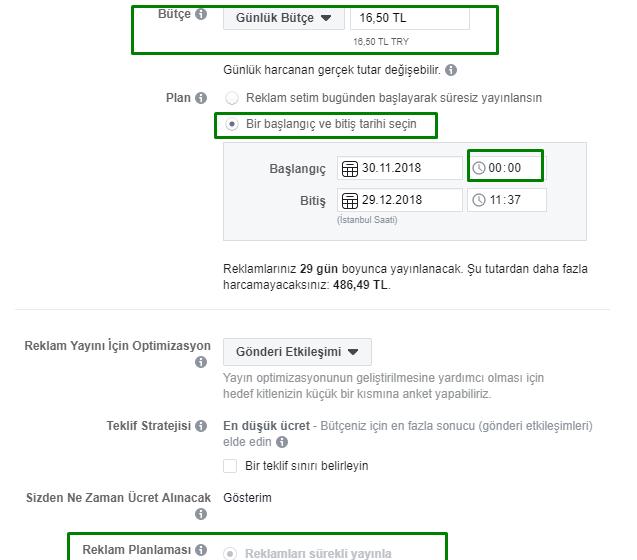 facebook reklam saati ayarlama