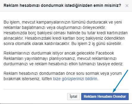 facebook reklam hesap kapatma