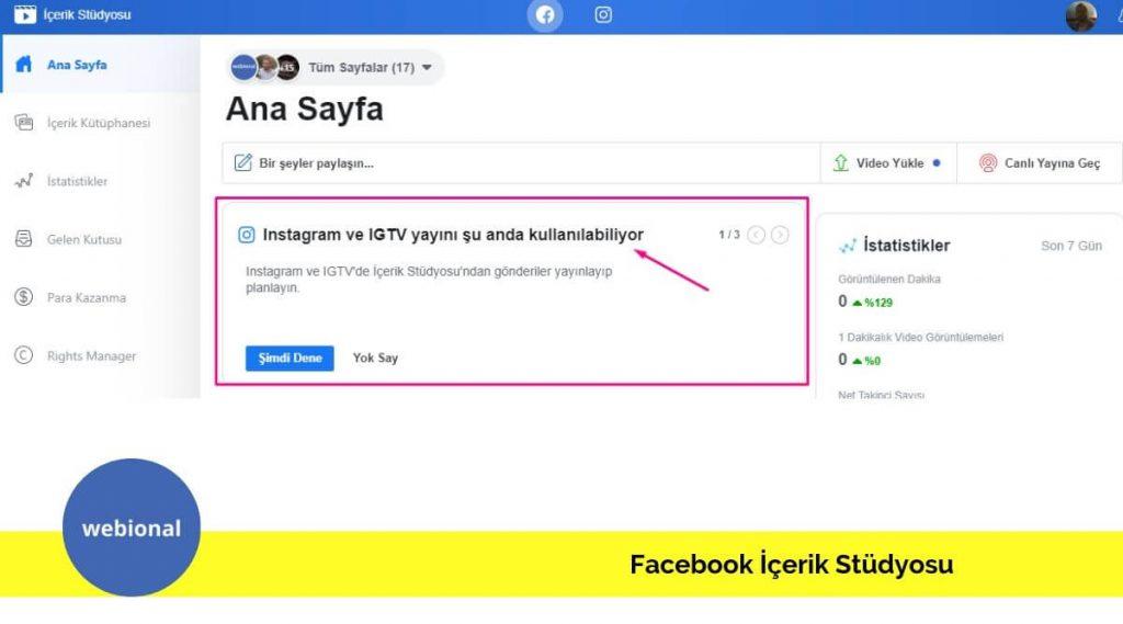 bilgisayardan instagramda nasıl gönderi paylaşılır, facebook içerik stüdyosu